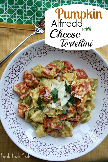 Pumpkin Alfredo with Cheese Tortellini  Made in 4 easy steps!Dinner, Recipe, Chees Tortellini, Food, Pumpkin Alfredo, Fresh Meals, Easy Step, Cheese Tortellini, Families Fresh