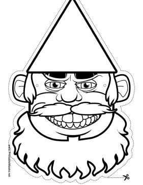 gnome with beard mask to color printable mask free to download and print