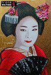 Frank's Art - Geisha schilderijen Japanse Geisha's Portretten Geisha