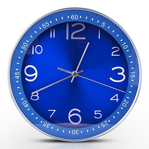 Egundo Blue Wall Clocks Indoor Outdoor 12 Inches Large Metal Silent Clock Sweep Second Hand Battery Operation Elegant Home Decoration for Bedroom Kitchen Office      Blue wall art is asophisticatedandtrendyway to deck the walls of your home.  Blue  wall art makes your home feelharmonious,peacefulandrelaxing. However blue wall art can also create abold first impression.