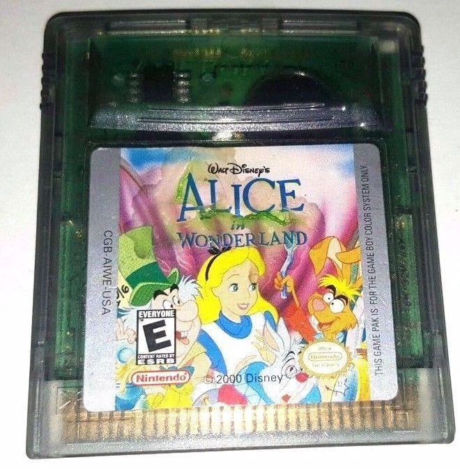 Vintage Gameboy Color Game Plays GBC GBA SP Walt Disney's ALICE IN WONDERLAND