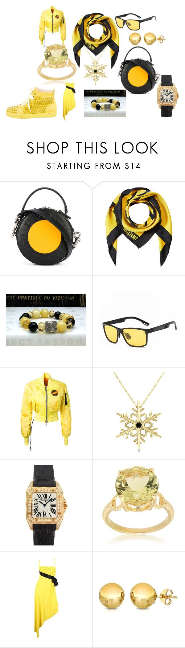 """BEE BUSINESS"" by marguerite-dillworth on Polyvore featuring Versus, Moschino, Unravel, Allurez, Cartier, Pearlz Ocean, Chanel, Pori and Christian Louboutin"