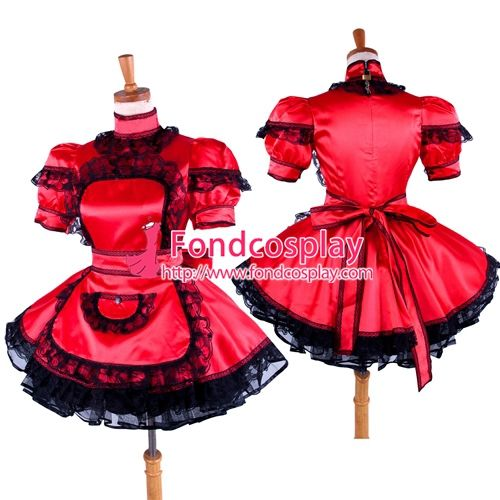 Free Shipping Lockable Sissy Maid Red Satin Dress Uniform Costume Tailor-made