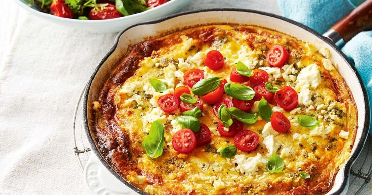Go meat-free and try this vegetarian corn and fetta frittata served with a roast tomato and basil salad.