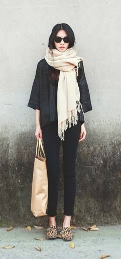 big scarf, slouchy black and leopard