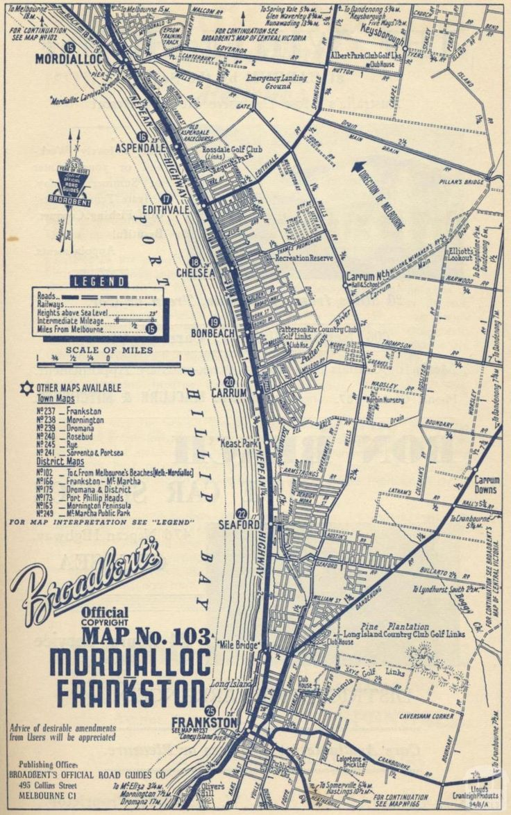 Map Mordialloc to Frankston, 1949