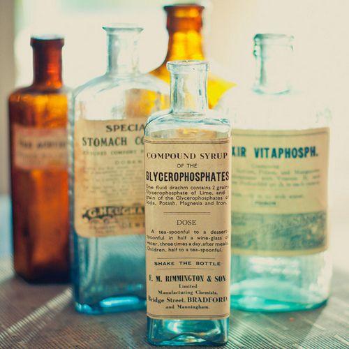 Vintage bottles for centerpieces