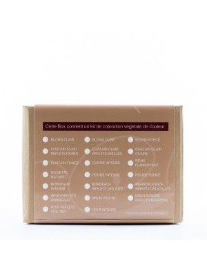 """BOX """"MA PREMIÈRE COLORATION VÉGÉTALE CHATAIN CLAIR REFLETS MIELLES"""" BEAUTE BIEN ETRE [NOVICE] 10 PIECES"""