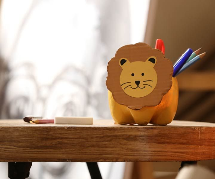 Plastic Bottle Lion for Organizing Craft Supplies