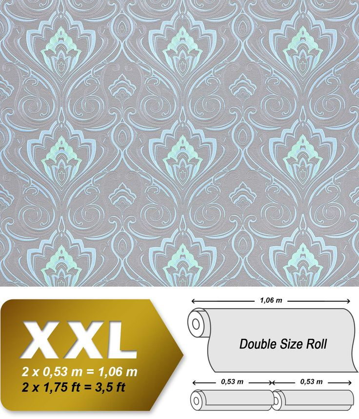Baroque paste the wall wallpaper XXL EDEM 993-37 nonwoven hot embossed elegant damask pattern blue green mint grey glitter 10.65 m2 001