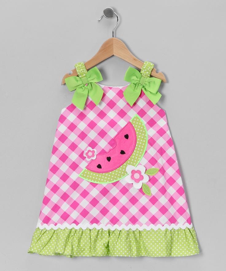 pink  u0026 green gingham watermelon dress
