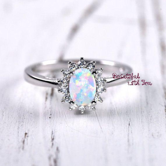 Único anillo de compromiso, anillos de la promesa de las mujeres, anillo del ópalo creado de blanca de laboratorio, con clara CZ, Art…