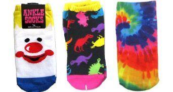 Set of 3 Pairs Women's Ankle Socks Clown Tye Dye Donosaurs ThatsRad. $14.99