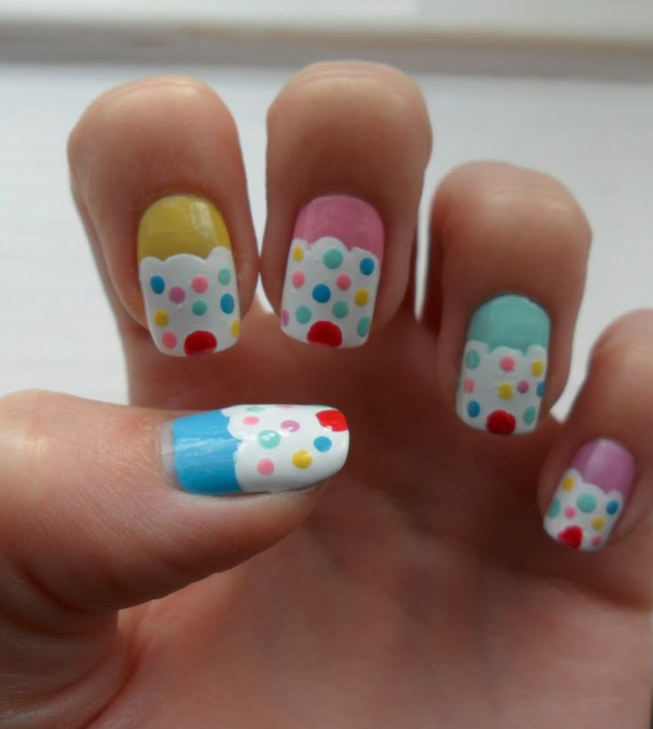 Cupcake nails This reminds me of how my best friend used to do this to her nails ALL the time :)