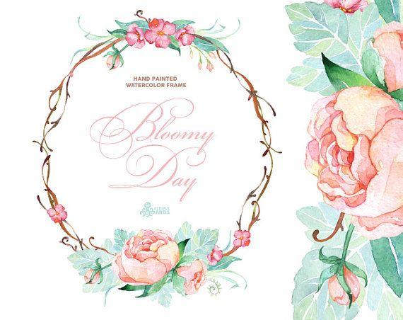 Bloomy-día. Cuadro acuarela, guirnalda, invitación de la boda, marco floral, tarjeta de felicitación, prediseñadas diy, flores, Peonías, menta y rosa, cotizaciones