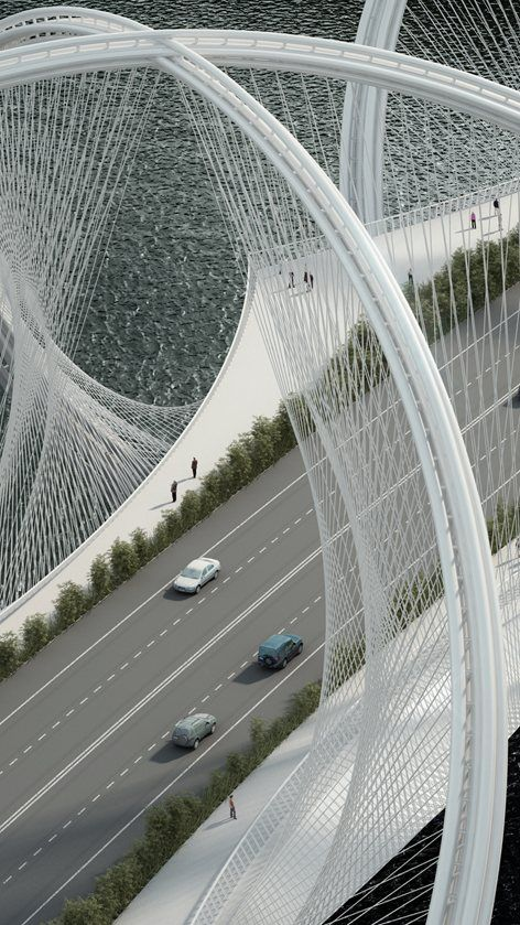 The #SanShanBridge by #Penda spans across the Gui River and will be part of the infrastructure program for the Olympic Winter Games 2022 in #Beijing. The design took inspiration from the five interlaced olympic rings