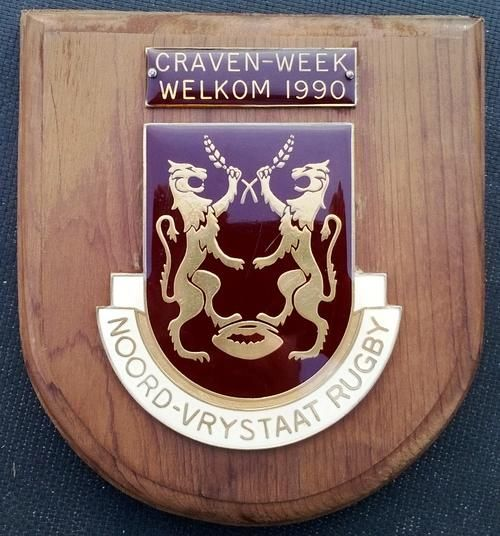 Buy Rare & Original. Plaque Noord - Vrystaat Rugby / Craven - Week Welkom 1990. As per picture. for R1.00