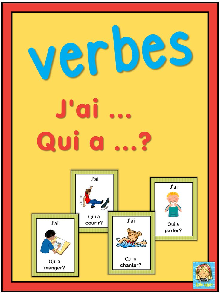 French version of the I have ... Who has ...? game. This French game can be played to practice French verbs. The game has 39 cards. Please download the preview with a list of all verbs included.