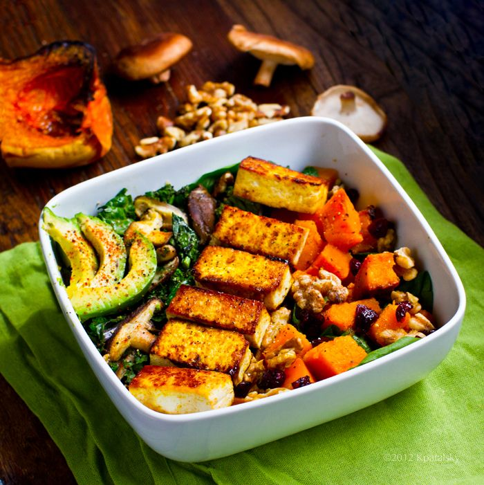 Butternut Bliss Fall Salad. With maple chipotle tofu, roasted butternut squash, mushrooms, kale, spinach, avocado, walnuts & cranberries. Yum!