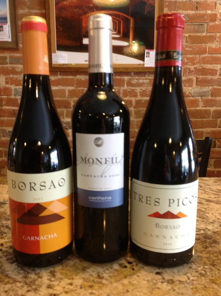 Garnacha Tasting Today! Bodegas Borsao Garnacha, Monfil Garnacha & Tres Pico Borsao Garnacha! All great wines from Spain. Which one will you like?