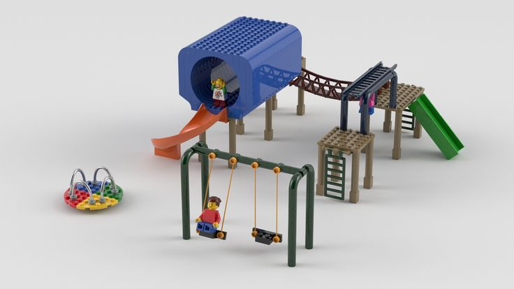 This is a playground that I designed using Mecabricks. It has a big (kind of bulky) tunnel, monkey bars, merry-go-round, swings, and a suspension bridge. It...