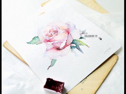 Рисуем розу акварелью / Rose watercolor paint - YouTube
