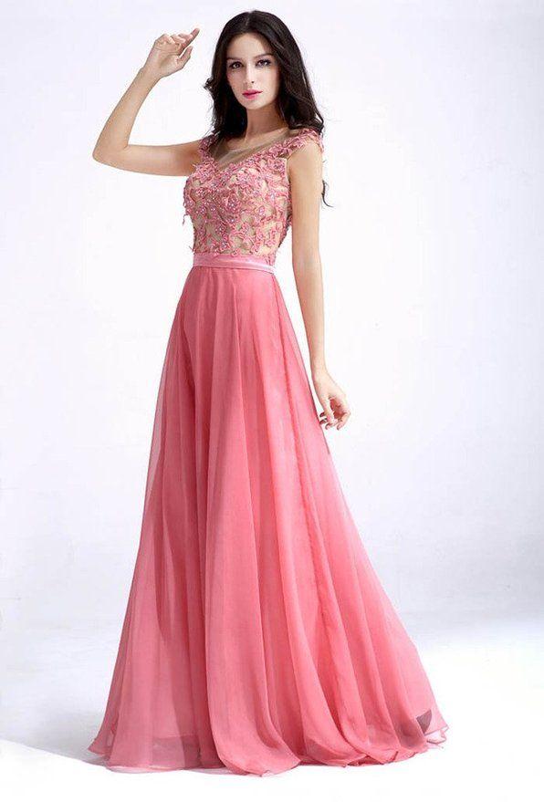 Vimans® Women's Elegant Long Scoop Beaded Lace Chiffon Evening Party Dresses | Amazon.com