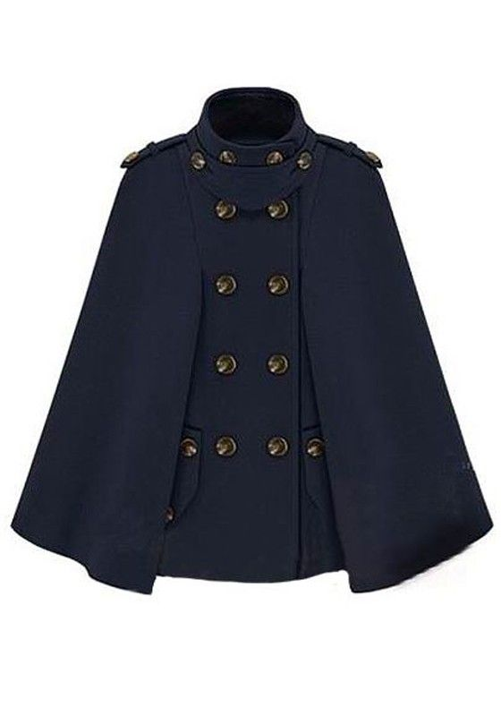 ++ Dark Blue Double Breasted Cotton Blend Trench Coat