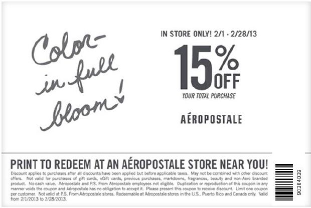 Get 15% Aeropostale Coupon February 2013 Here: http://www.couponsinsider.com/15-aeropostale-coupon-february-2013.html