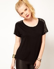 Hearts & Bows Stud Shoulder T Shirt  www.asos.com