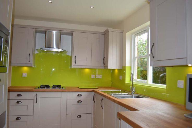 Lime Green Kitchen Glass Splashback by CreoGlass Design (London,UK). View more coloured glass kitchen splashbacks and non-scratch worktops on www.creoglass.co.uk #kitchen