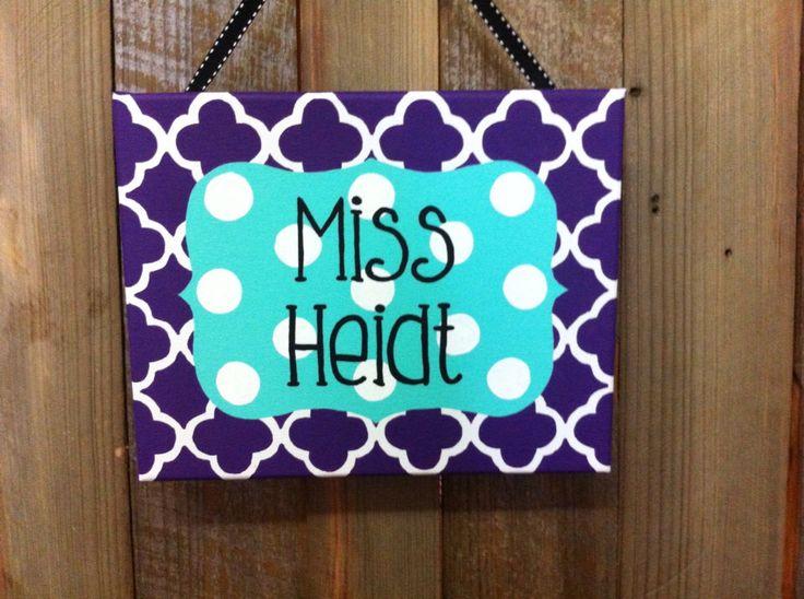 Purple and aqua teacher classroom door sign, teacher name sign, classroom door decoration, teacher gift, teacher appreciation by LillouHandmade on Etsy https://www.etsy.com/listing/231915134/purple-and-aqua-teacher-classroom-door