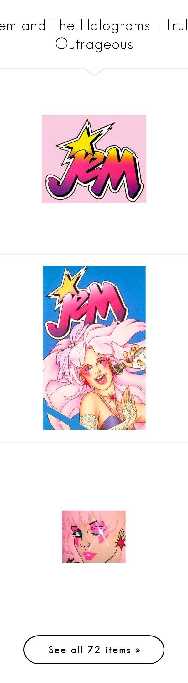 """""""Jem and The Holograms - Truly Outrageous"""" by twistedvine ❤ liked on Polyvore featuring jem, jem and the holograms, pictures, cartoon, beauty products, makeup, eye makeup, eyeshadow, sephora collection eyeshadow and palette eyeshadow"""