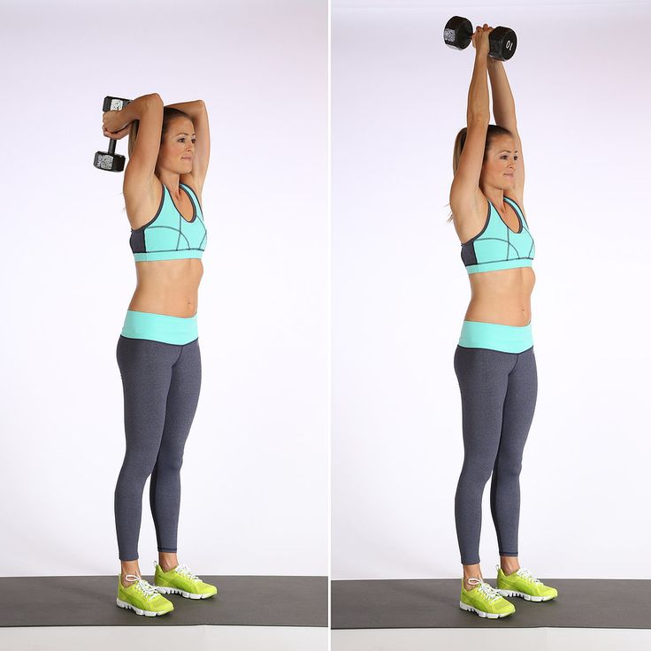 Here's a move you probably know and love that'll target the backs of the arms. Stand with your feet hip d...