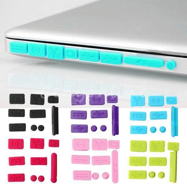9pcs De Silicona Anti Dust Plug puertos Cover Set Para Macbook (pro) Laptop 6 Colores in Computadoras, tablets y redes, Otras computadoras y redes | eBay