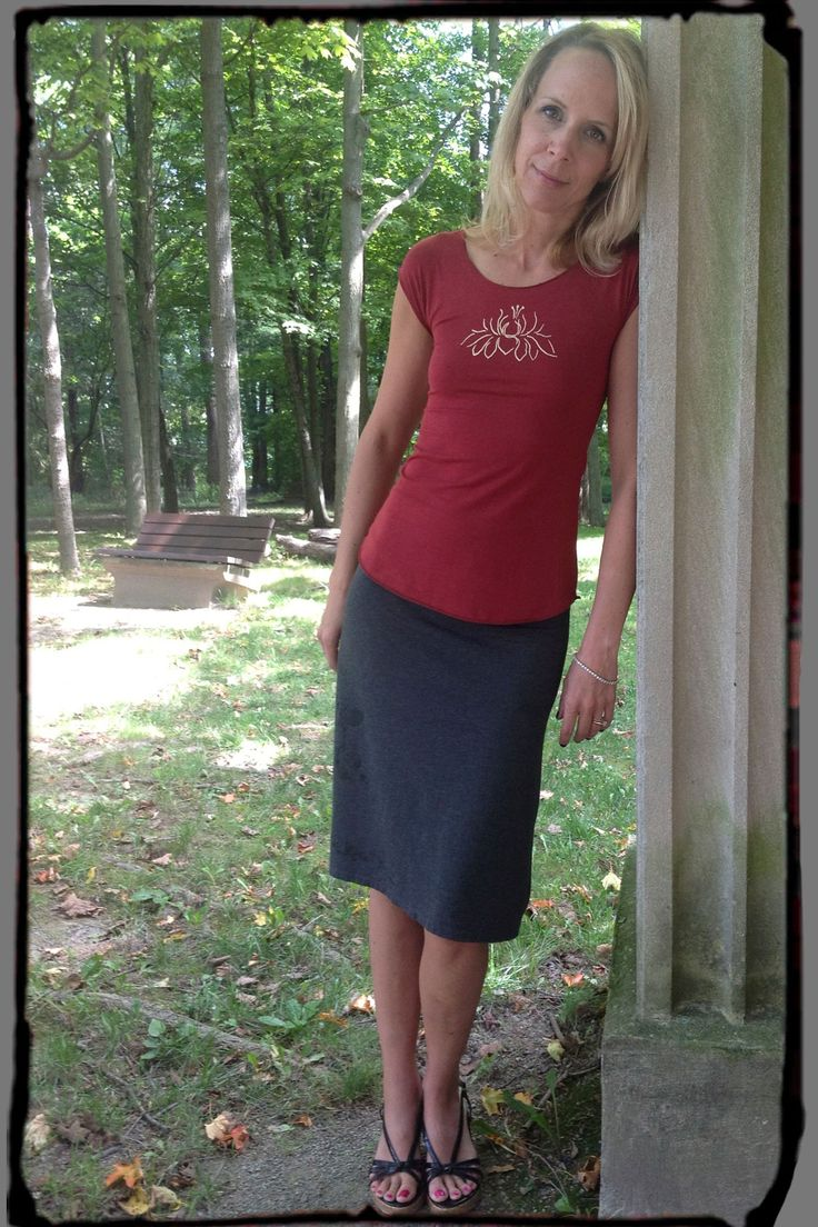Squeezed Yoga Clothing's Bamboo Cap Sleeve Tee worn with Our Bamboo Skirt http://squeezed.ca/shop/brick-red-bamboo-cap-sleeve-tee-with-light-yellow-soft-lotus