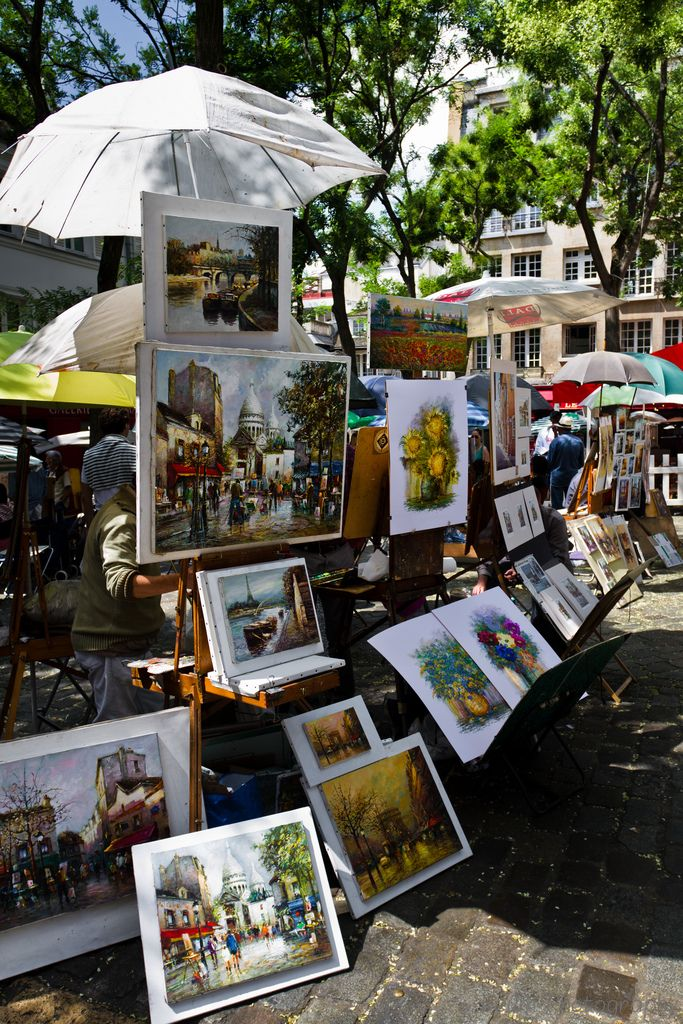 Paintings at Place du Tertre, Montmartre, Paris - one of the many favorites places in Paris where I can spend hours.