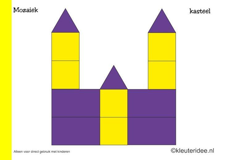 Mozaiek voorbeeldkaarten voor kleuters 5, kasteel, kleuteridee.nl , Preschool mosaic patterns, free printable.