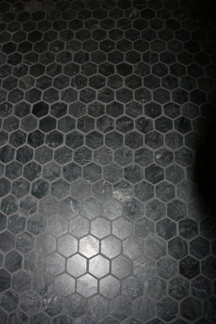 Black Hexagon Tiles With Grey Grout Bathroom Pinterest
