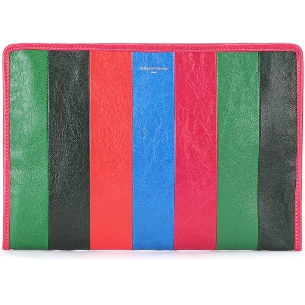 Balenciaga Holiday Bazar Striped Leather Clutch ($535) ❤ liked on Polyvore featuring bags, handbags, clutches, multicoloured, multi colored purses, genuine leather handbags, leather handbags, special occasion clutches and balenciaga handbags