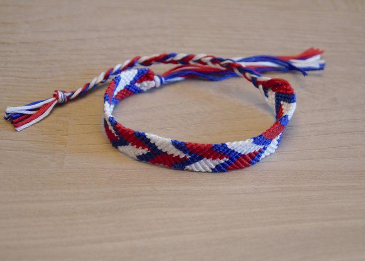 bracelet brésilien, bracelet de l'amitié, bleu blanc rouge : Bracelet par planete-b-bijoux