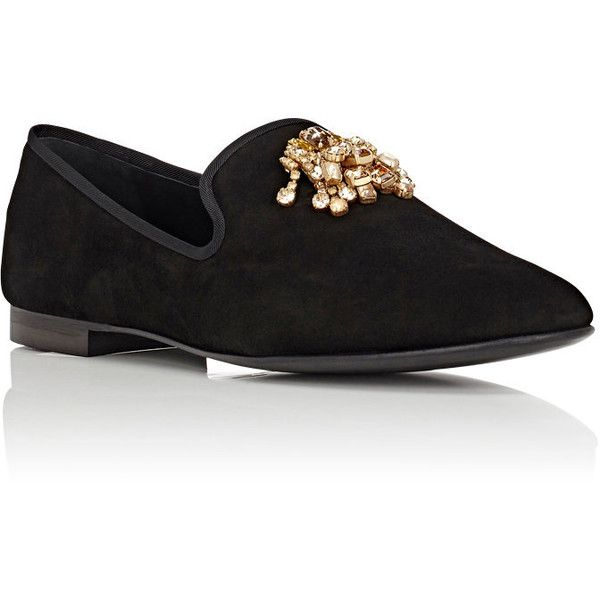 Giuseppe Zanotti Men's Kevin Jewel-Embellished Suede Venetian Slippers ($995) ❤ liked on Polyvore featuring men's fashion, men's shoes, men's slippers, mens flat shoes, mens slippers, mens leather soled slippers, mens suede shoes and giuseppe zanotti mens shoes