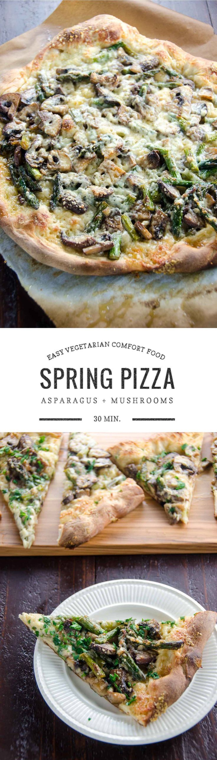 A lovely spring vegetable pizza with asparagus, mushrooms, and two kinds of cheese is savory, springy, and nice and easy. Ready in 30 minutes.