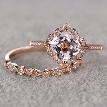 2pcs morganite bridal ring setengagement ring rose golddiamond wedding band14k - Wedding Rings Vintage