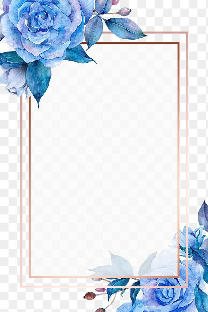 Blue Flower And Gold Frame Png In Watercolor Free Image By Rawpixel Com Boom Blue Flowers Background Blue Flower Art Flower Frame Png