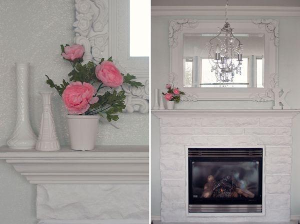 Diy Glitter Wall Amp Painted Stone Fireplace Glitter Wall
