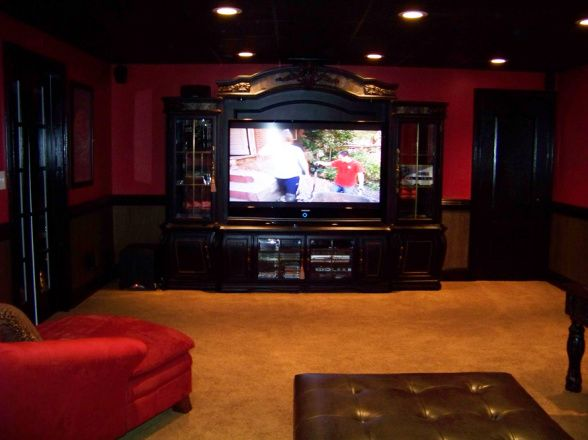 Red and black media room basement media room ideas for Basement theater room