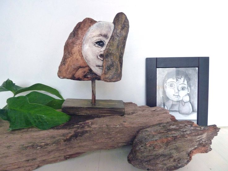 Hand-painted Driftwood sculpture, Neanderthal Man, original, Picasso style figurine, gift, home decor, wood art, abstract timber figurine by ArtiSueBee on Etsy