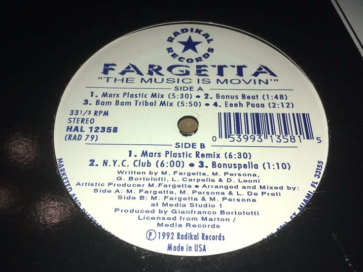 """Fargetta The Music Is Moving Radikal Records 1992 12"""" Techno House Music  #DiscoElectroFunkHouseTechno"""