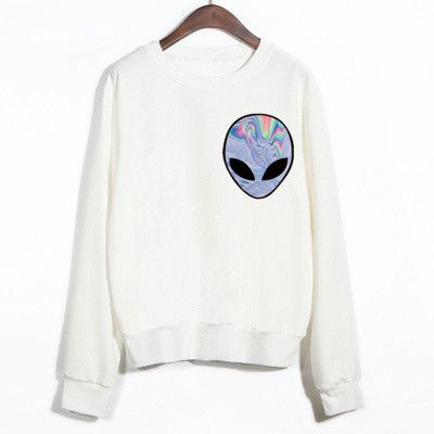 2015 New Winter Women Punk Funny Alien Printed Sport Sweatshirt Cheap Clothing
